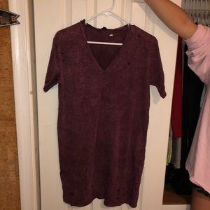 Burgandy distressed T shirt dress acid wash